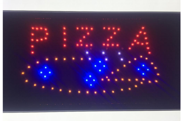 LED-Schild PIZZA (rot, orange, blau, weiß)